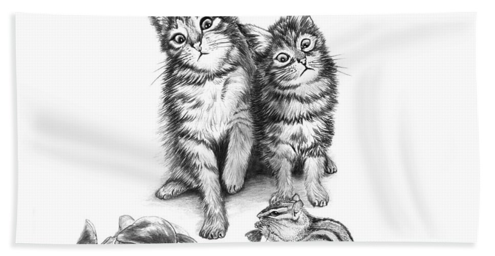 Cat Chips Hand Towel featuring the drawing Cat Chips by Peter Piatt