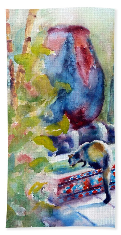Cat Hand Towel featuring the painting Cat Drinking Fountain by Carolyn Jarvis