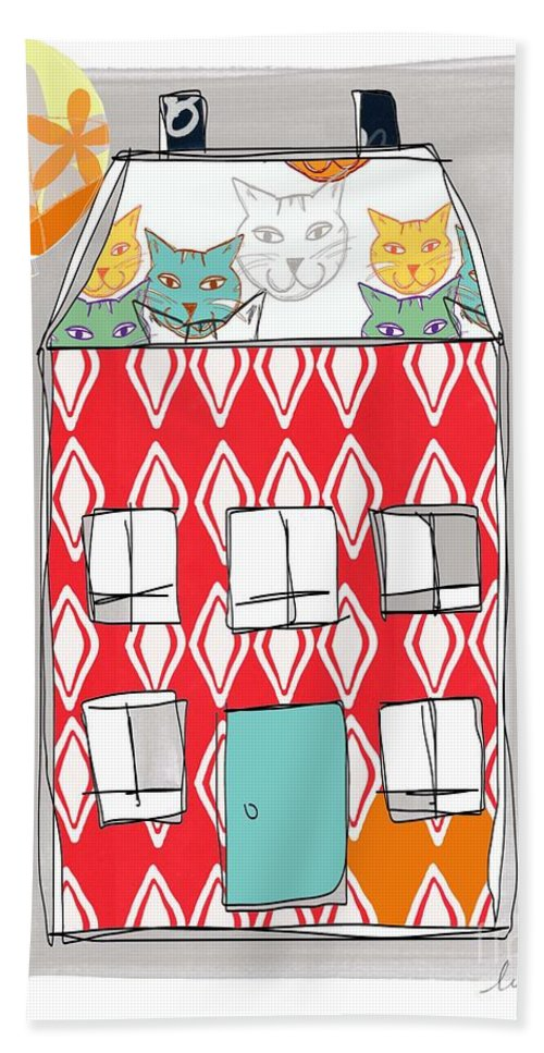 Cat Bath Towel featuring the painting Cat House by Linda Woods