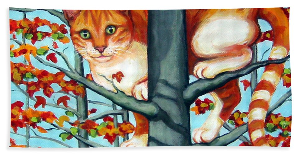 Rebecca Korpita Bath Sheet featuring the painting Orange Cat In Tree Autumn Fall Colors by Rebecca Korpita
