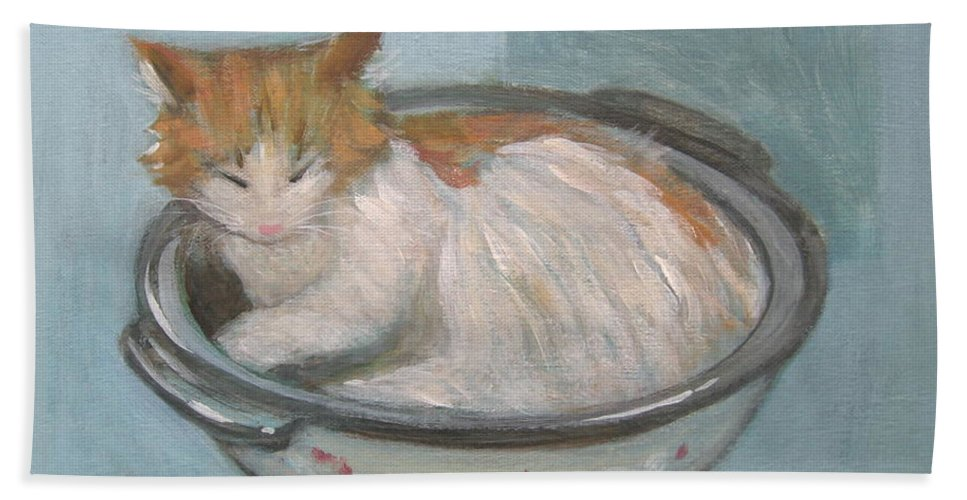 Cat Bath Sheet featuring the painting Cat In Casserole by Kazumi Whitemoon