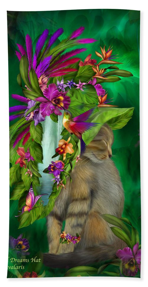 Carol Cavalaris Hand Towel featuring the mixed media Cat In Tropical Dreams Hat by Carol Cavalaris