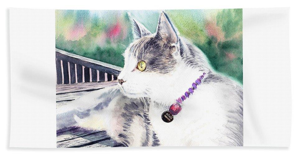 Cat Hand Towel featuring the painting Cat by Irina Sztukowski