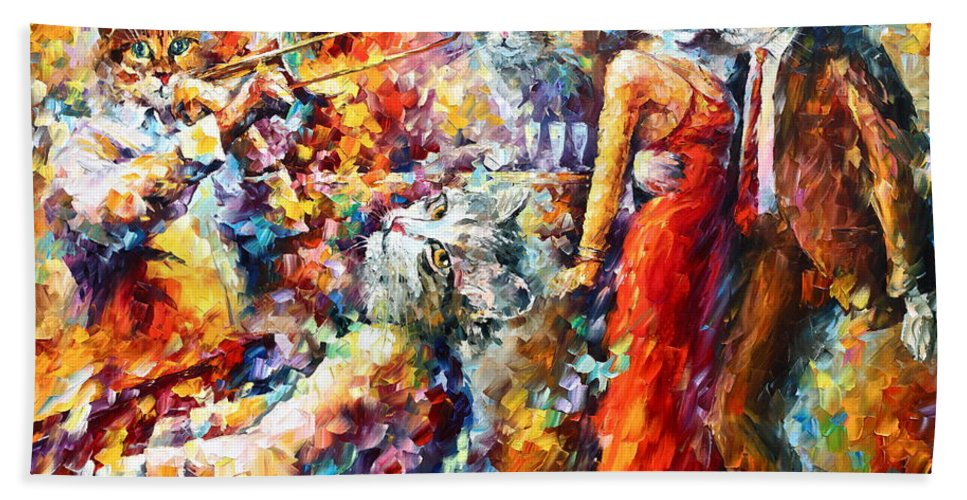 Cat Bath Sheet featuring the painting Cat Jazz Club by Leonid Afremov