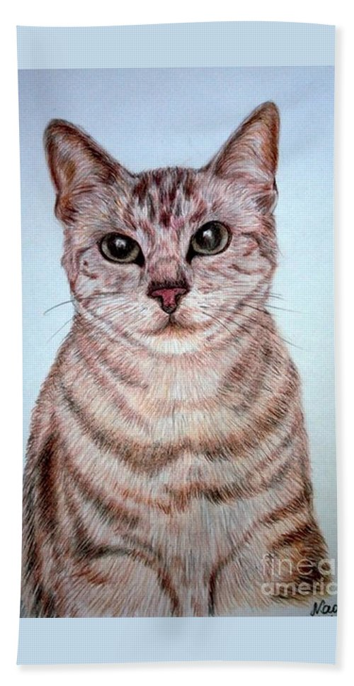 Cat Animal Drawing Colored Pencils Paper Bath Sheet featuring the drawing cat by Nadi Sabirova