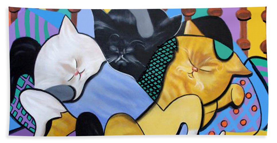 Cat Nap Bath Sheet featuring the painting Cat Nap by Anthony Falbo