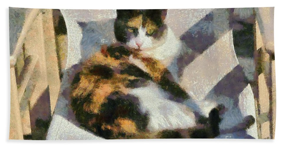 Cat; Cats; Feline; Tabby; Animal; Sit; Sitting; Rest; Resting; Free; Alone; Greece; Hellas; Greek; Hellenic; Hydra; Argosaronic; Saronic; Gulf; Islands; Yellow; Eyes; Chair; Paint; Painting; Paintings; Island Hand Towel featuring the painting Cat On Chair by George Atsametakis