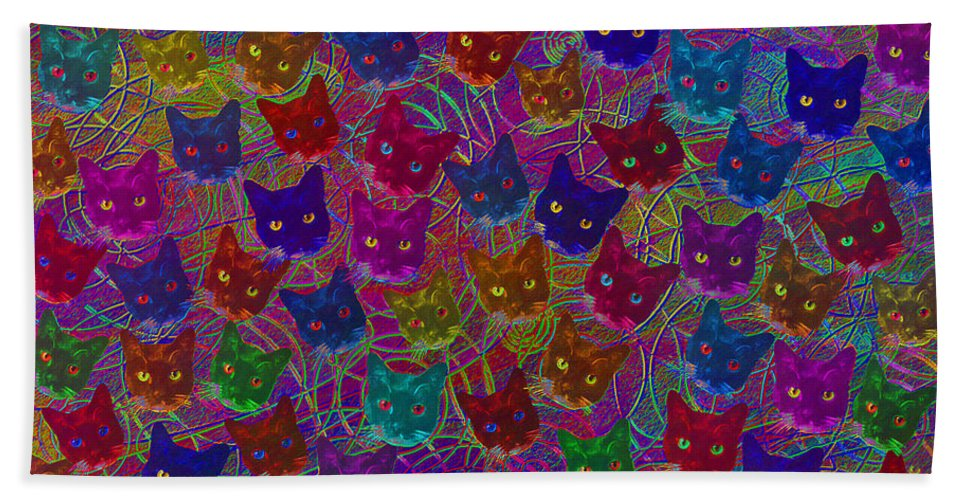 Cat Hand Towel featuring the digital art Cat Party by Diane Parnell