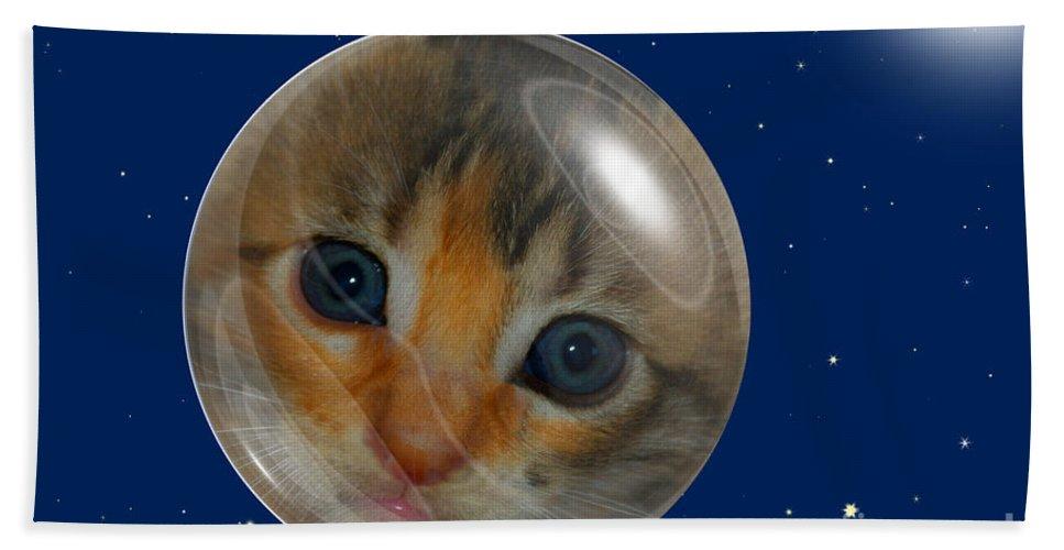 Claudia's Art Dream Bath Sheet featuring the photograph Cat Planet by Claudia Ellis