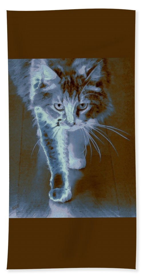 Cat Portrait Bath Sheet featuring the photograph Cat Walking by Ben and Raisa Gertsberg
