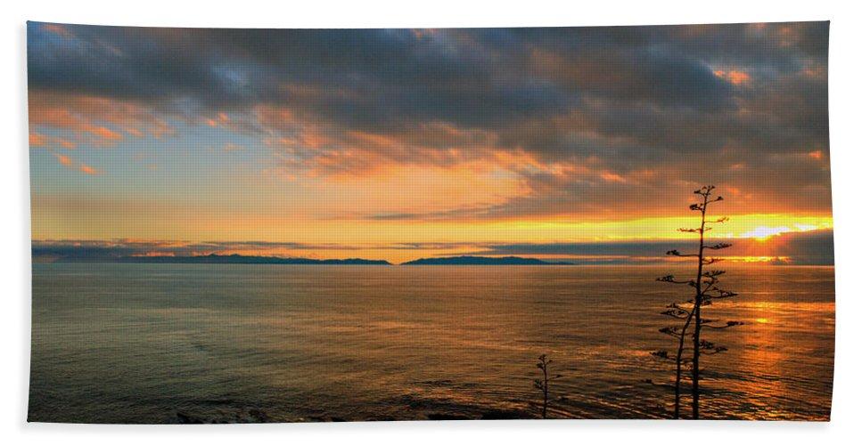 Royal Palms Bath Sheet featuring the photograph Catalina Island Sunset by Joe Schofield