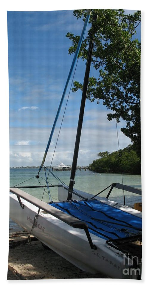 Beach Hand Towel featuring the photograph Catamaran On The Beach by Christiane Schulze Art And Photography