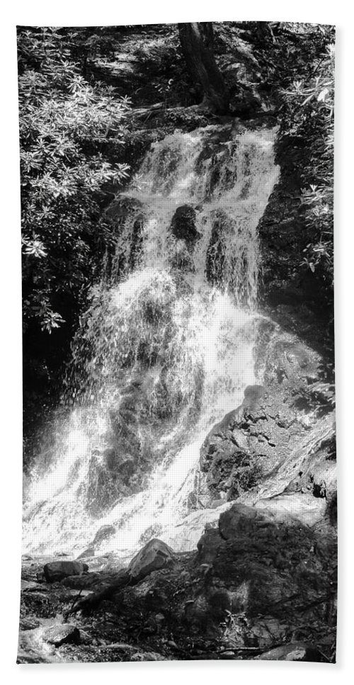 Cataract Falls Hand Towel featuring the photograph Cataract Falls Smoky Mountains Bw by Cynthia Woods