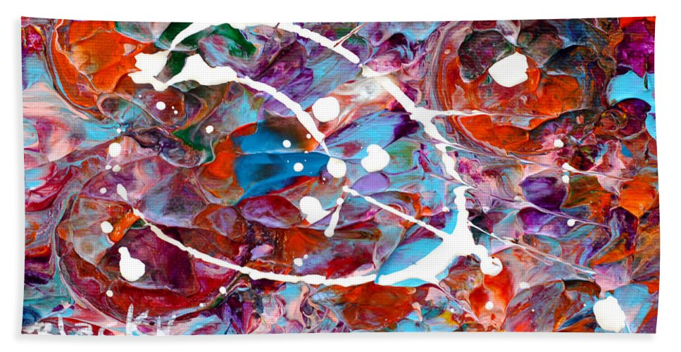 Bold Abstract Hand Towel featuring the painting Catastrophic by Donna Blackhall