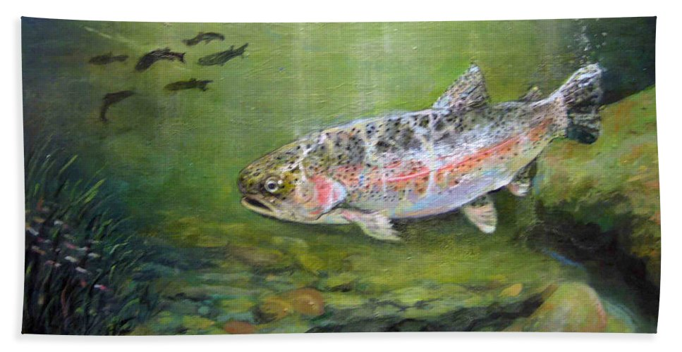 Nature Bath Sheet featuring the painting Catch It by Donna Tucker