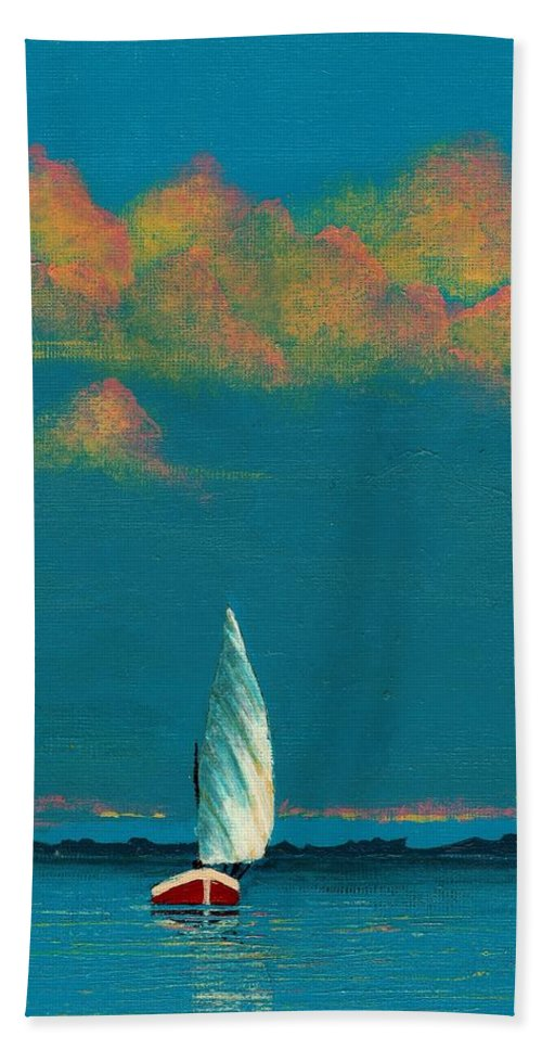 Landscape Painting Bath Towel featuring the painting Catching The Breeze by Edith Peterson