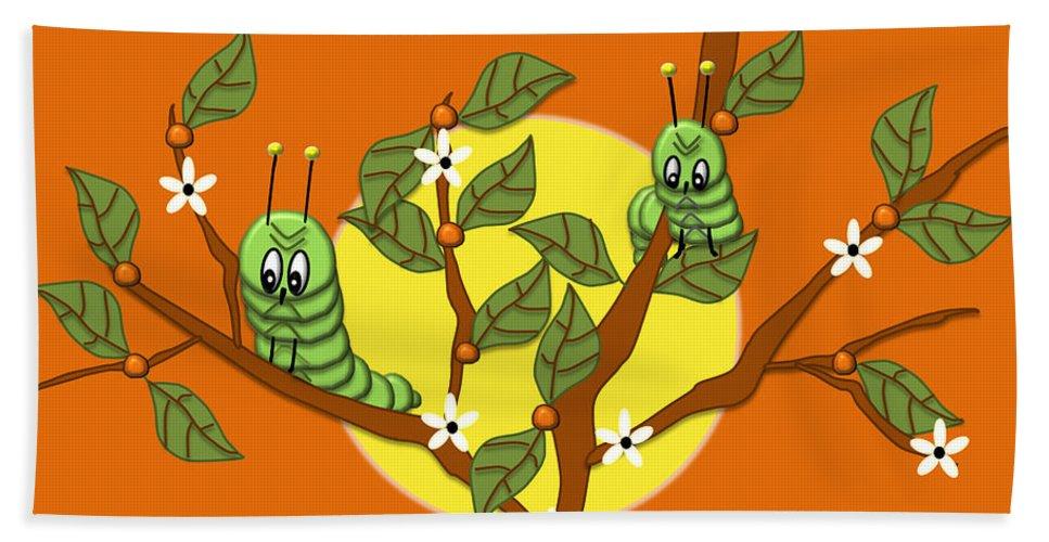 Illustration Bath Sheet featuring the digital art Caterpillars In The Orange Tree by Natalie Terrill