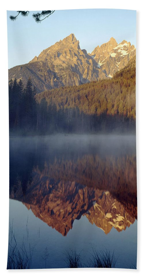 Cathedral Group Bath Sheet featuring the photograph 4m9304-cathedral Group Reflection, Tetons, Wy by Ed Cooper Photography