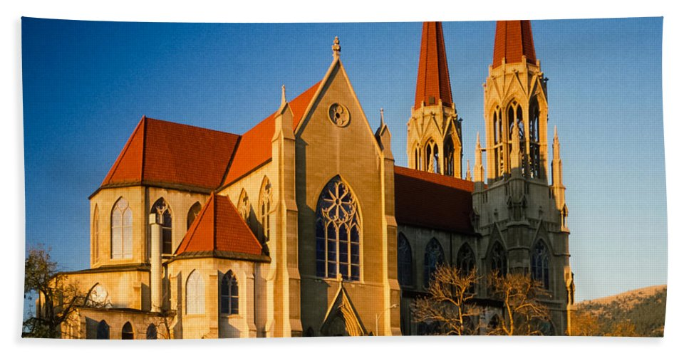 The Roman Catholic Cathedral In Helena Montana. Hand Towel featuring the photograph Cathedral Helena Montana by Mike Penney