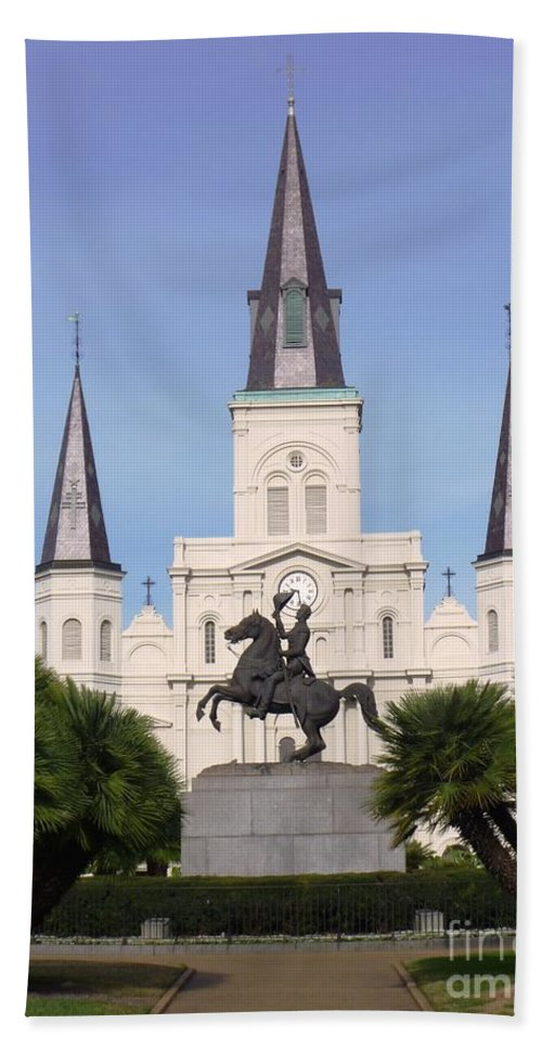 Photograph Hand Towel featuring the photograph Cathedral In Jackson Square by Alys Caviness-Gober