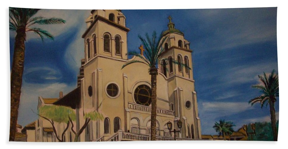 Hand Towel featuring the painting Cathedral by Jude Darrien