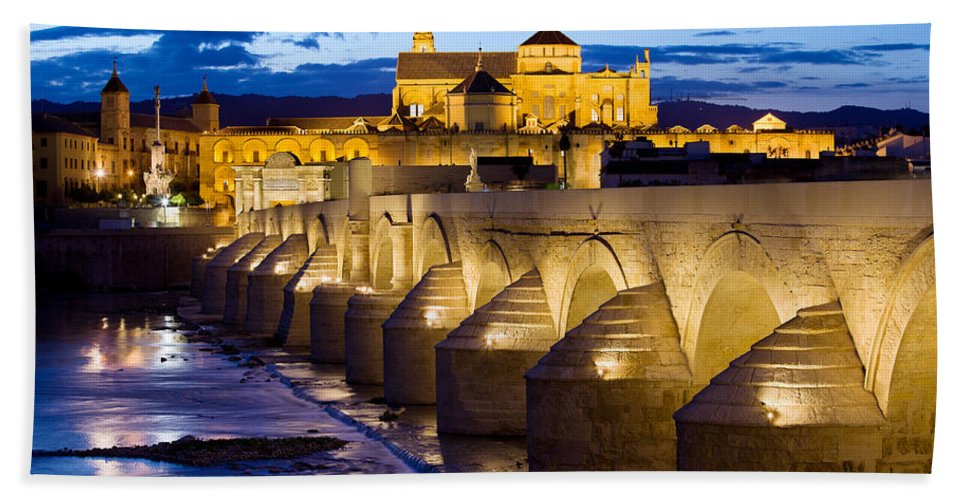 Ancient Bath Sheet featuring the photograph Cathedral Mosque And Roman Bridge In Cordoba by Artur Bogacki