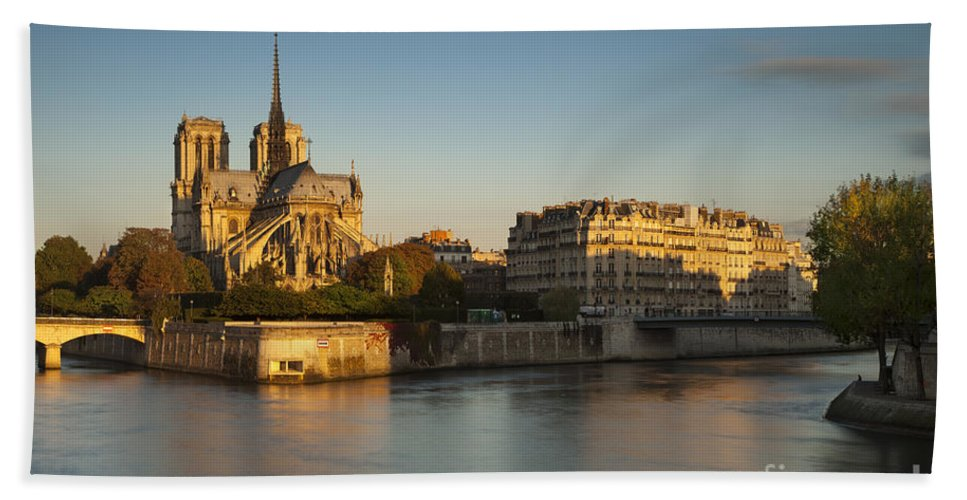 Architectural Bath Sheet featuring the photograph Cathedral Notre Dame - Sunrise by Brian Jannsen