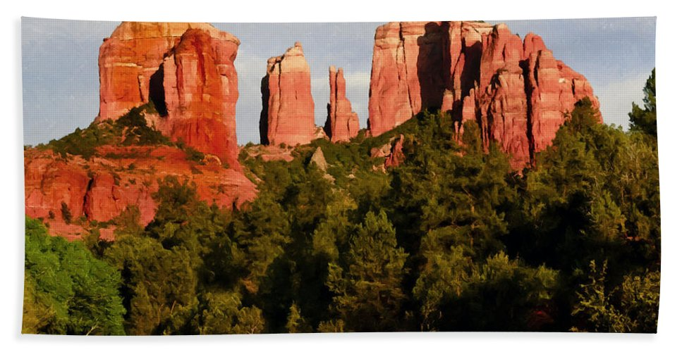 Arizona Bath Sheet featuring the painting Cathedral Rock by Bob and Nadine Johnston