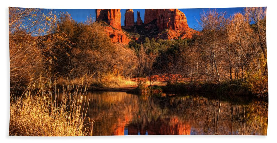 2012 Hand Towel featuring the photograph Cathedral Rock by Tom Weisbrook
