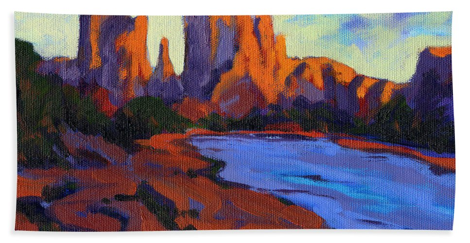 Arizona Hand Towel featuring the painting Cathedral Rock by Konnie Kim