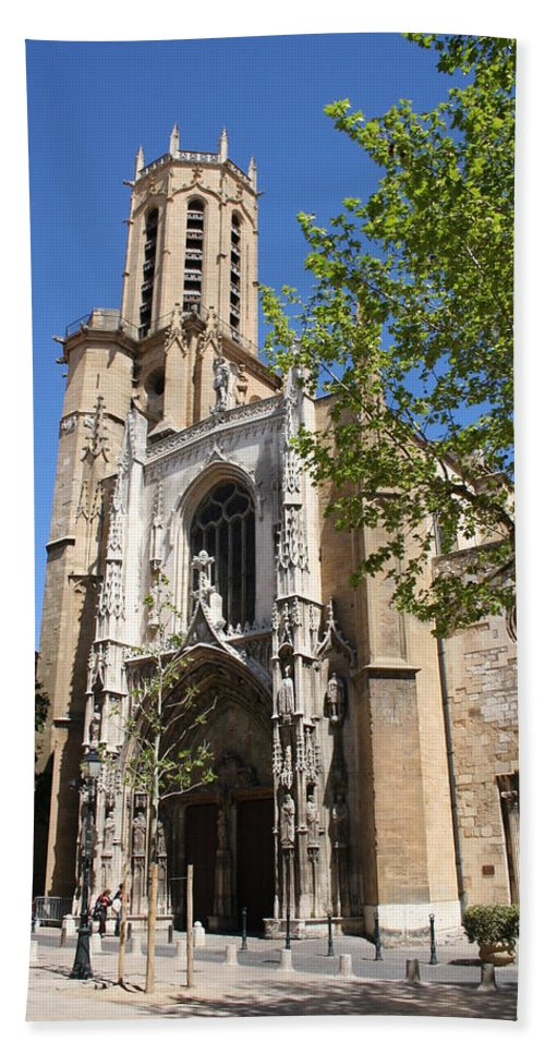 Cathedral Bath Sheet featuring the photograph Cathedral St Sauveur - Aix En Provence by Christiane Schulze Art And Photography