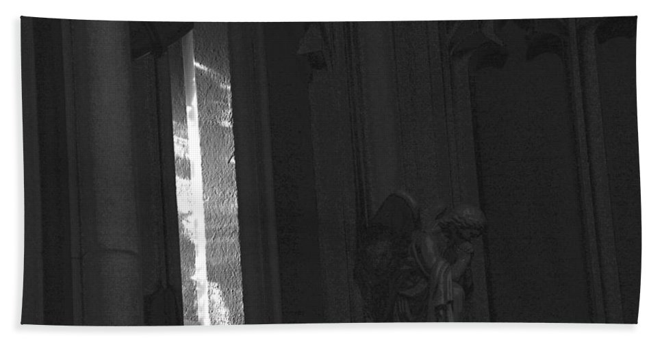 Monochrome Bath Sheet featuring the photograph Cathedral Window by John Schneider