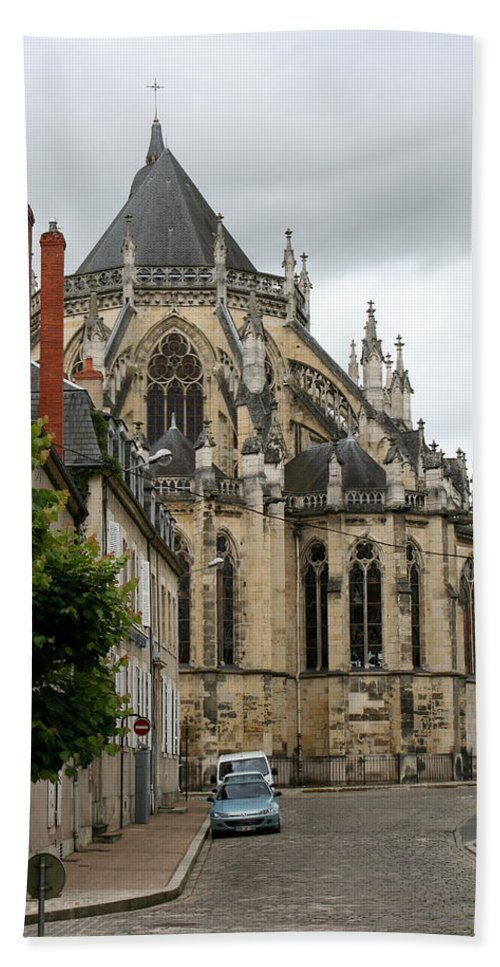 Cathedral Hand Towel featuring the photograph Cathedrale Saint - Cyr - Et - Sainte - Julitte De Nevers by Christiane Schulze Art And Photography