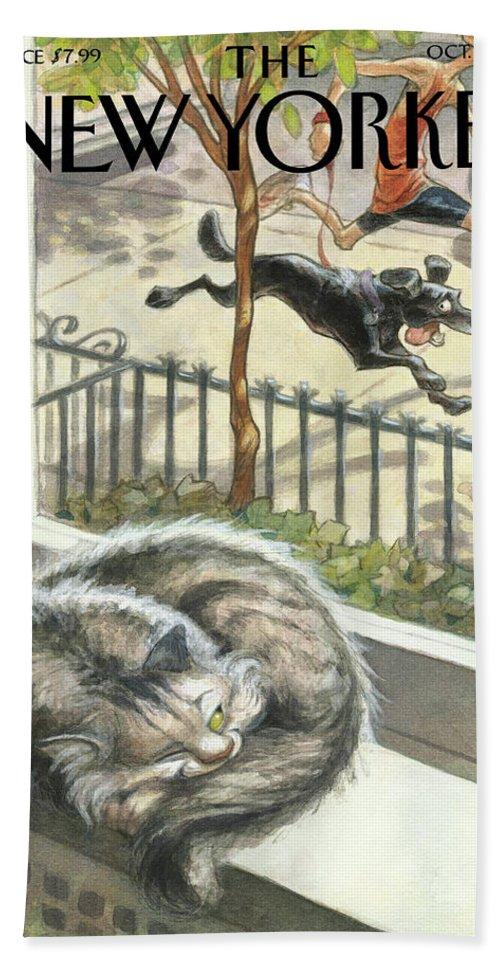Cat Bath Sheet featuring the painting Catnap by Peter de Seve