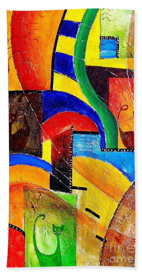 Abstract Hand Towel featuring the painting Cats 533-11-13 Marucii by Marek Lutek