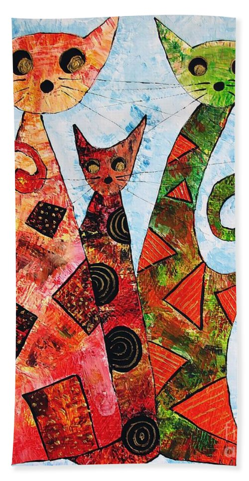 Cats Hand Towel featuring the painting Cats 737 - Marucii by Marek Lutek