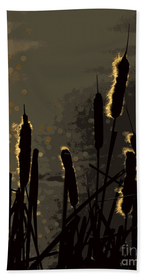 Cattails Hand Towel featuring the photograph Cattails At Sunset by Kenny Glotfelty