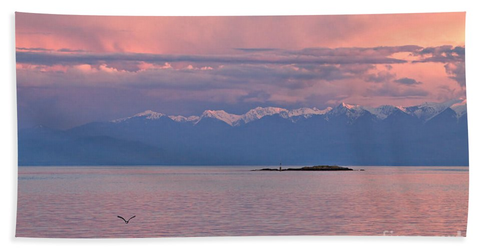 Travel Hand Towel featuring the photograph Cattle Point At Sunset On Vancouver Island British Columbia by Louise Heusinkveld