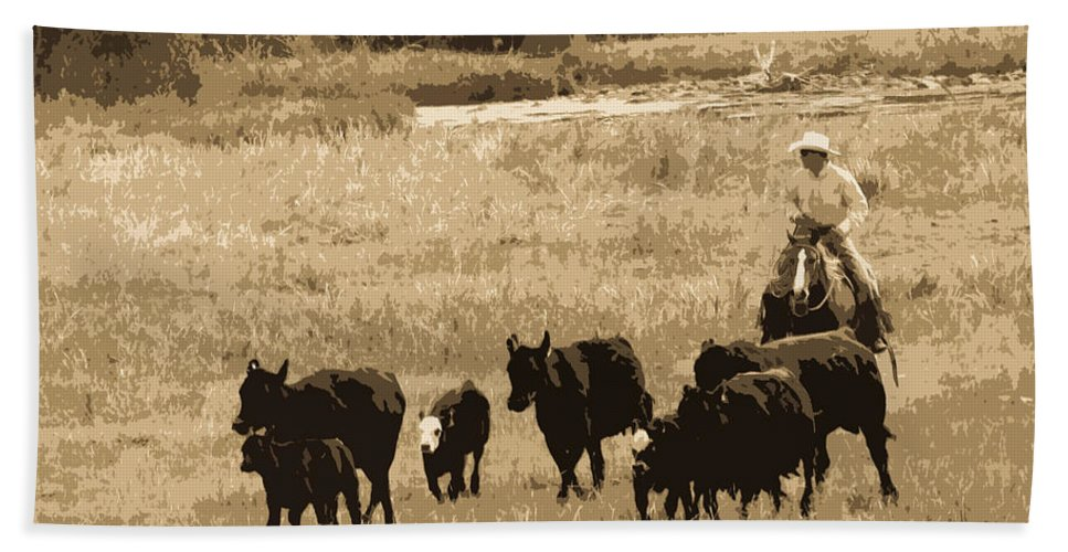 Cowboy Bath Sheet featuring the photograph Cattle Round Up Sepia by Athena Mckinzie
