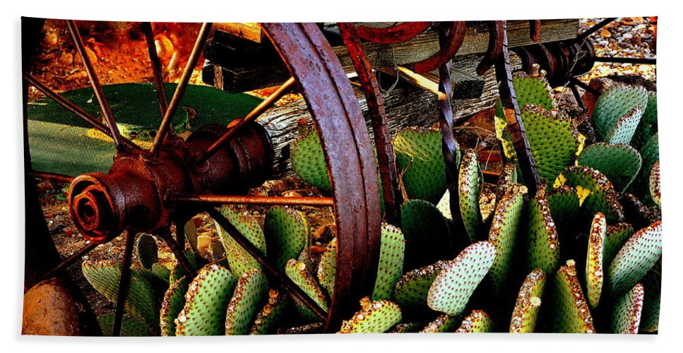 Wagon Wheel Bath Sheet featuring the photograph Caught In A Cactus Patch-sold by Antonia Citrino