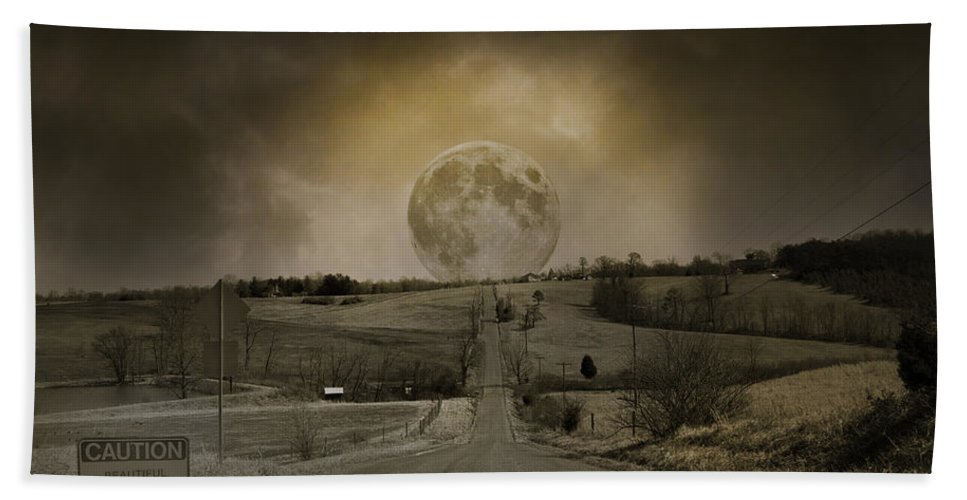 Full Hand Towel featuring the photograph Caution Road by Betsy Knapp