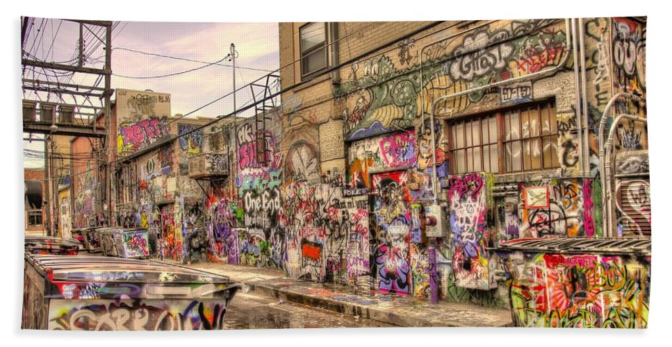 Graffiti Bath Sheet featuring the photograph Caution Wet Paint by Anthony Wilkening