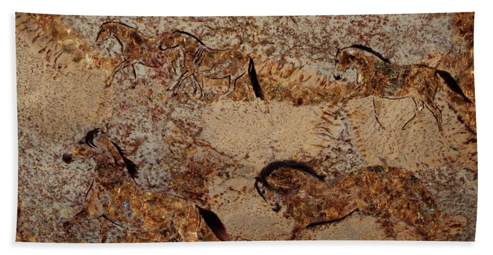 Cave Painting Hand Towel featuring the photograph Cave 2 by Melinda Hughes-Berland