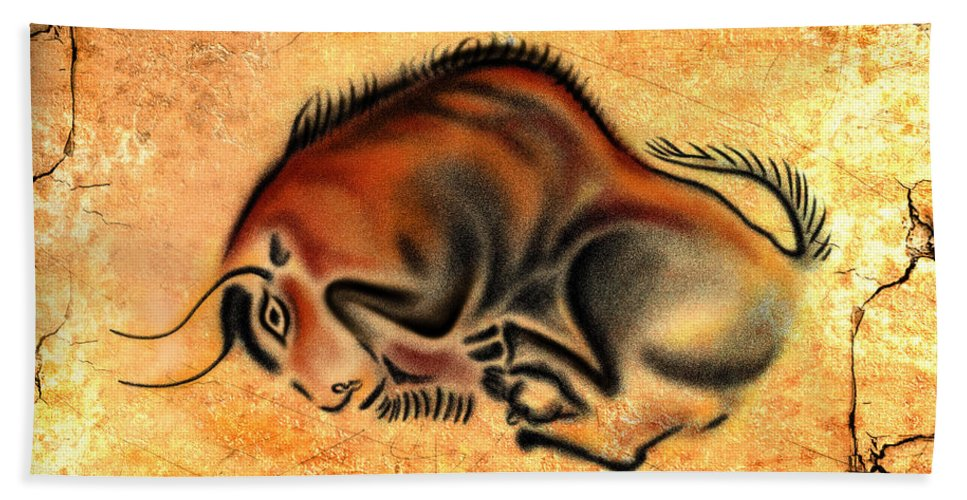 Cave Painting Hand Towel featuring the drawing Cave Painting by Alessandro Della Pietra