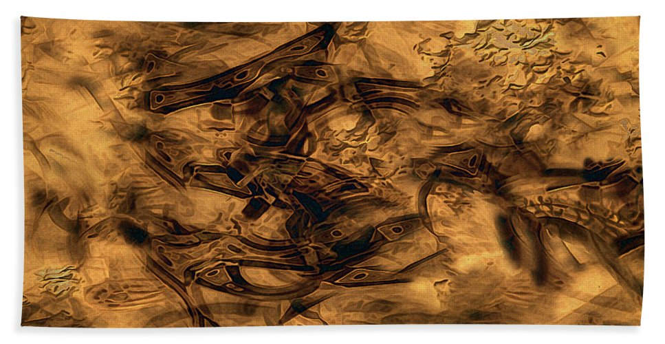 Abstract Bath Sheet featuring the painting Cave Painting by RC DeWinter