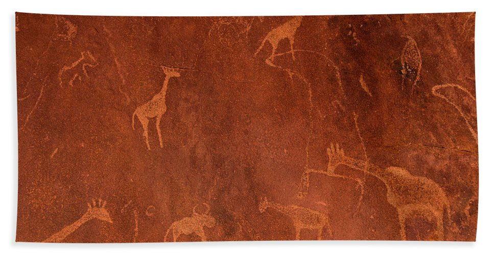 Photography Hand Towel featuring the photograph Cave Paintings By Bushmen, Damaraland by Panoramic Images