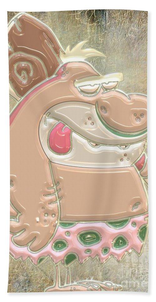 Caveman Hand Towel featuring the digital art Caveman by Liane Wright