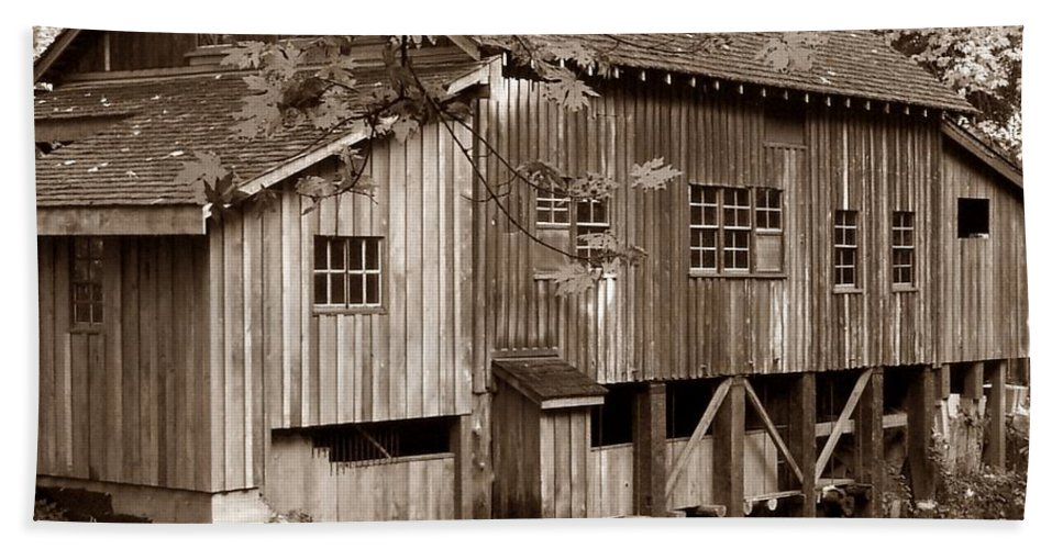 Cedar Creek Grist Mill Sepia Hand Towel featuring the photograph Cedar Creek Grist Mill Sepia by Chalet Roome-Rigdon