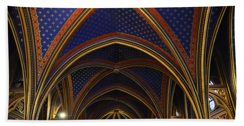 Ceiling Hand Towel featuring the photograph Ceiling Of The Sainte-chapelle Paris by RicardMN Photography