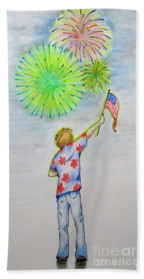 Flag Bath Sheet featuring the mixed media Celebrate America by Catherine Howley